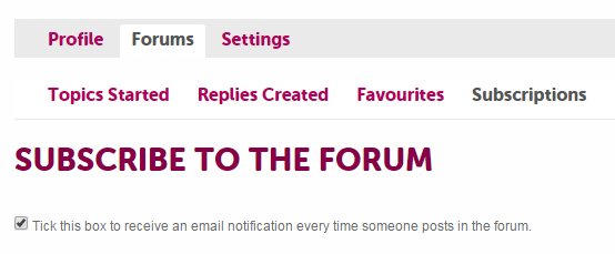 Subscribe to the forum